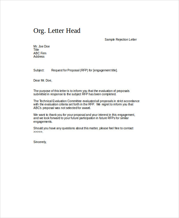Sample Proposal Rejection Letter   Examples In Word Pdf