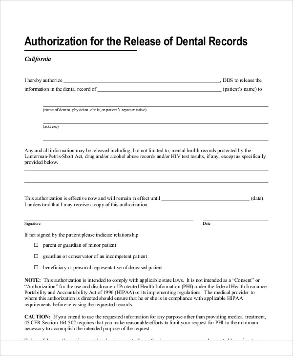 Sample Dental Release Form   Examples In Word Pdf