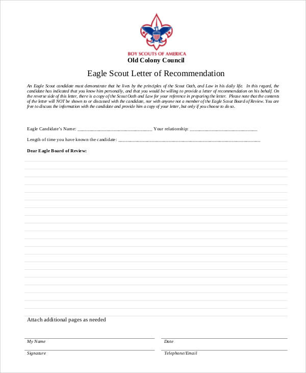 eagle scout letter of recommendation example eagle scout letter of recommendation