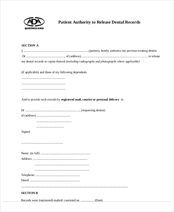 Dental Patient Release Form