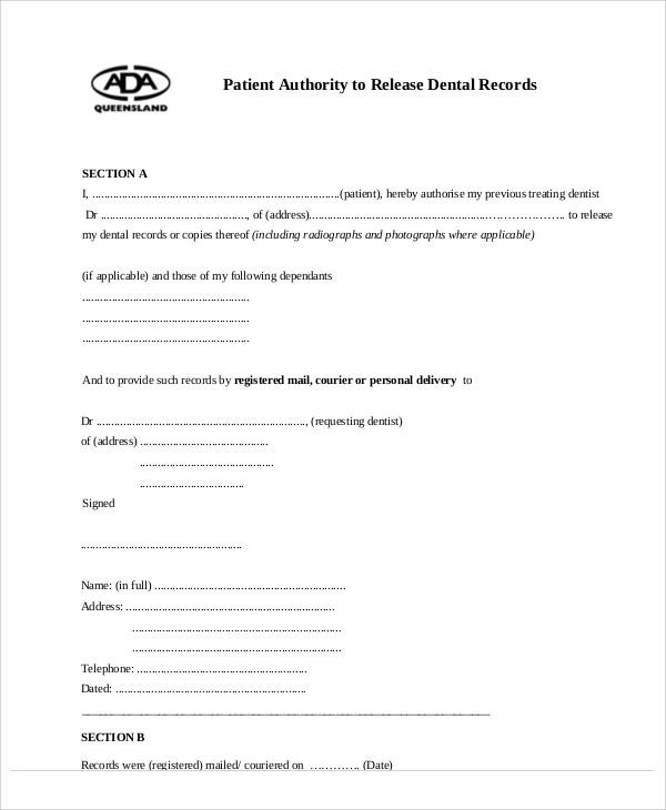 dental patient release form