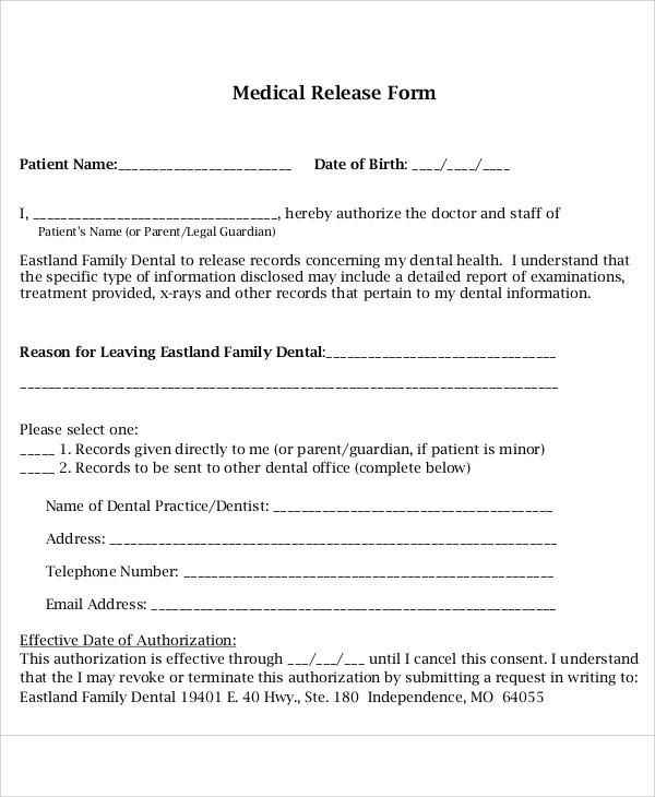 medical and dental release form