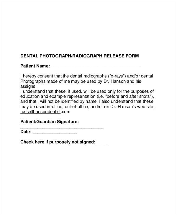 sample dental photo release form