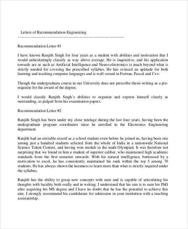 professional engineer recommendation letter
