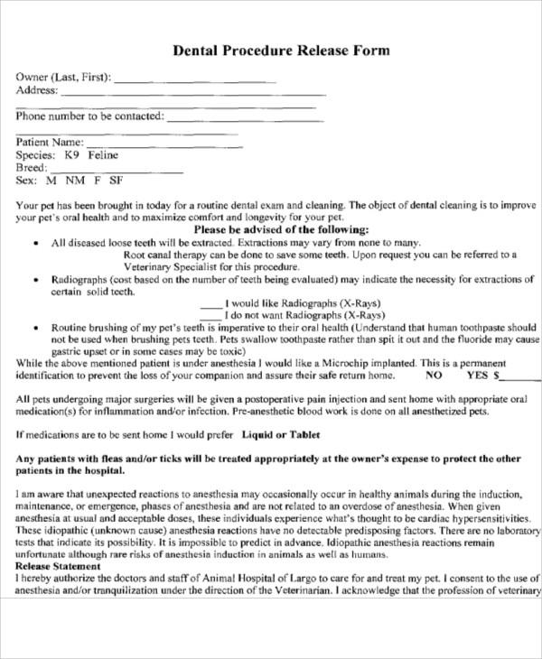 dental procedure release form