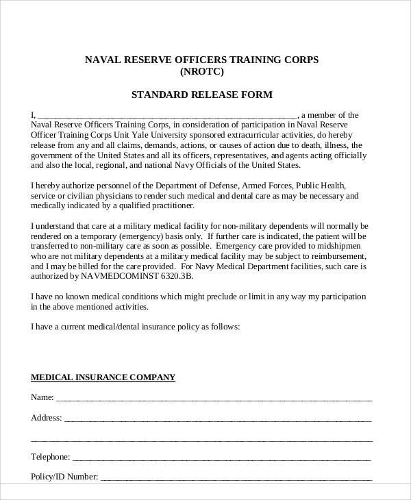 standard dental release form