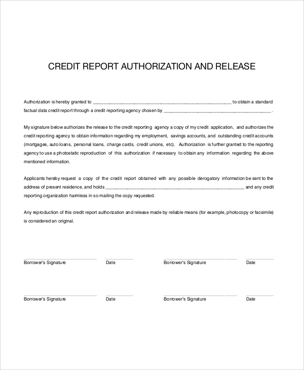 Sample credit check release form 7 examples in word pdf credit check release authorization form altavistaventures Images