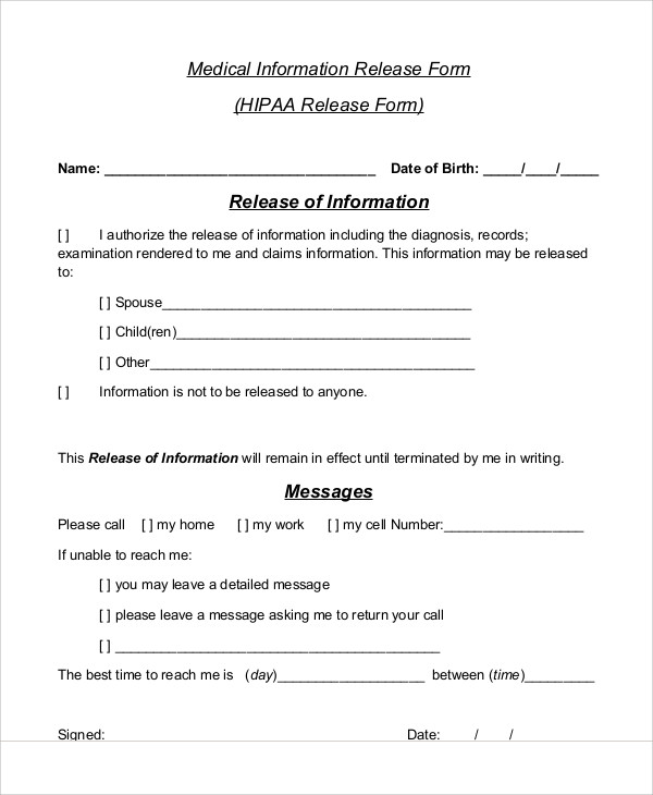 Sample Medical Information Release Form   Examples In Word Pdf
