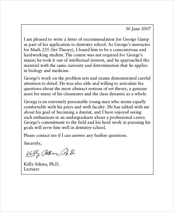 Letter Of Recommendation For Graduate School 38 Sample