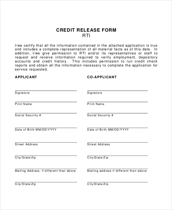 Sample Credit Check Release Form   Examples In Word Pdf