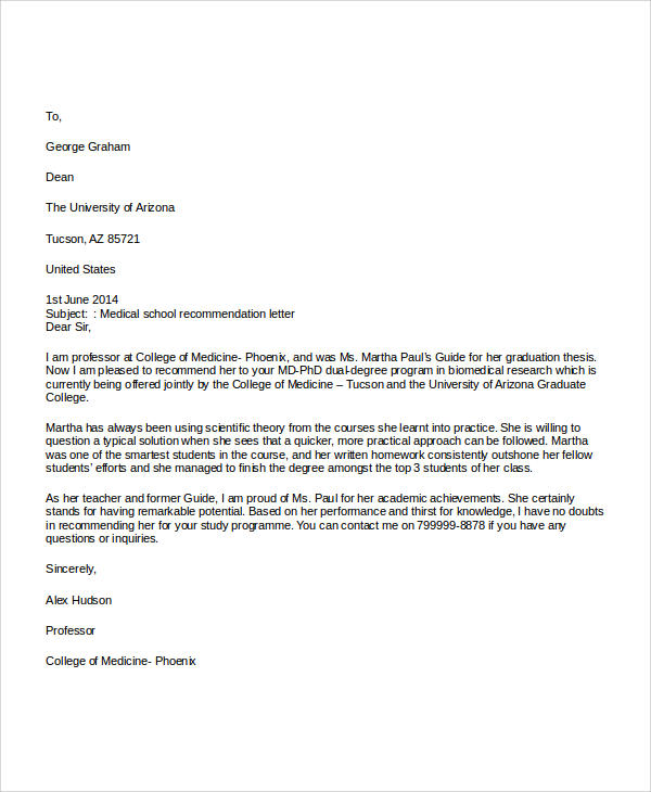 medical school recommendation letter