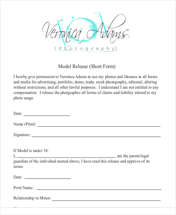 Sample Photography Model Release Form - 7+ Examples In Word, Pdf