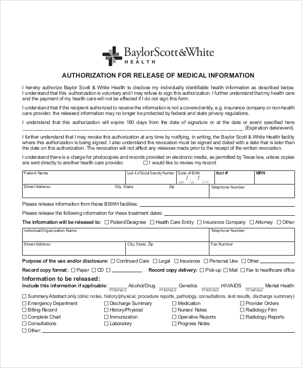 Sample Medical Authorization Release Form - 8+ Examples In Word, Pdf