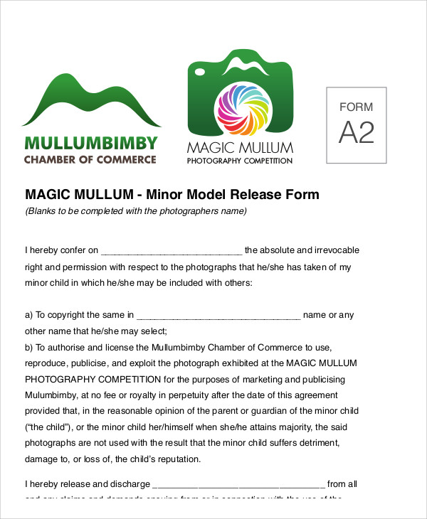 sample photography minor model release form