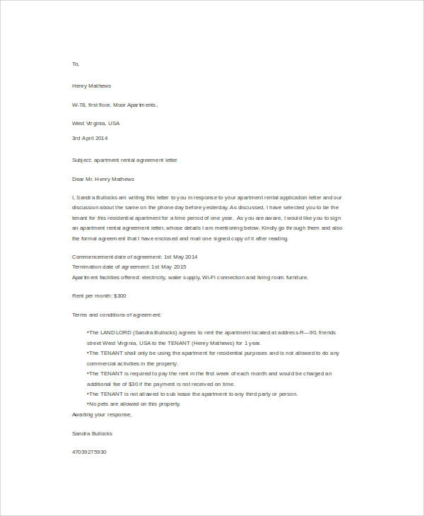 apartment rental agreement letter