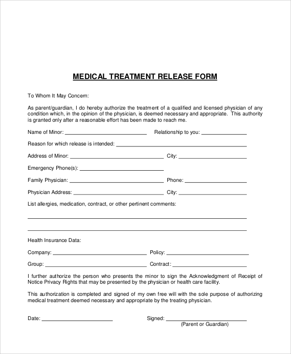 Medical Treatment Authorization Release Form