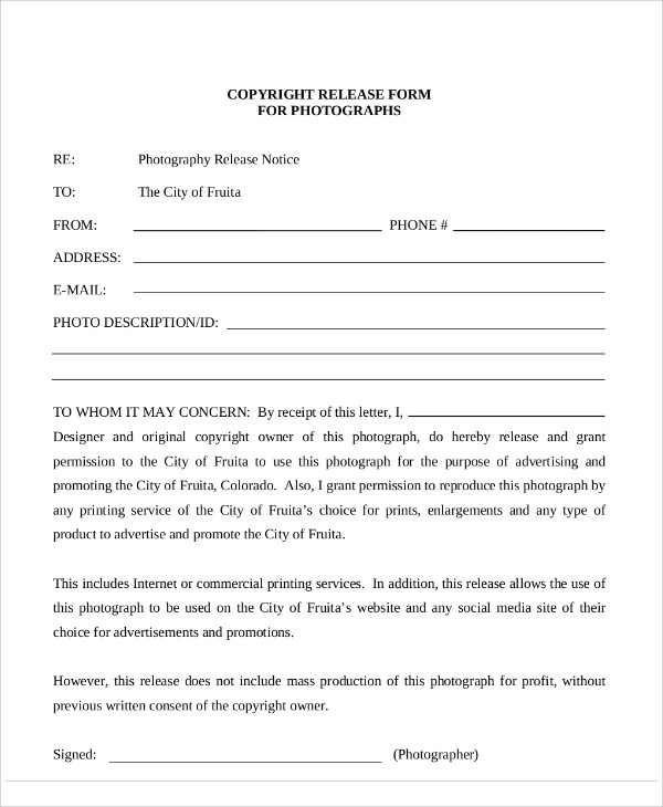 7 sample photography copyright release forms sample for Photography permission form template