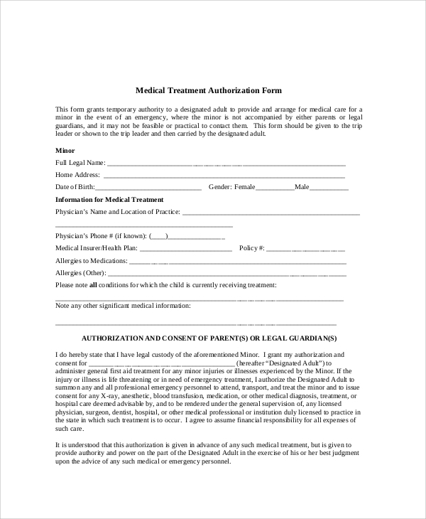 8 sample medical authorization release forms sample for Medication consent form template