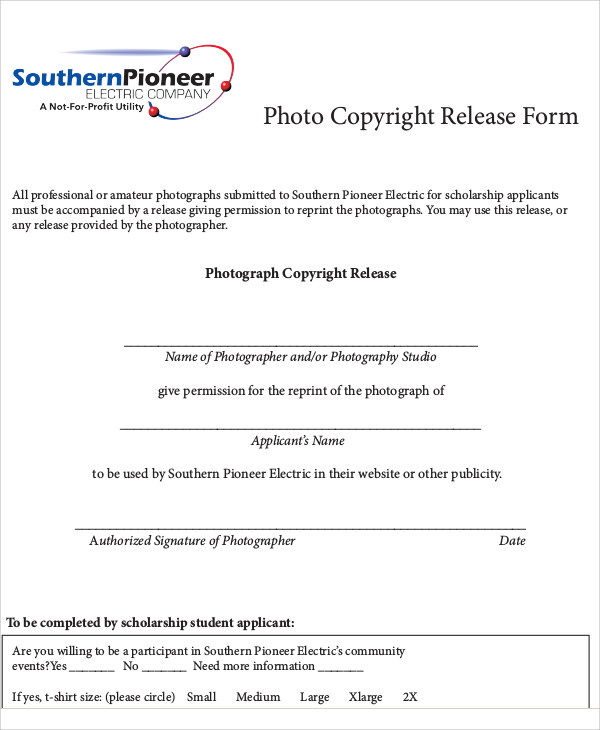 Sample Photography Copyright Release Form 7 Examples in Word PDF – Photo Copyright Release Forms