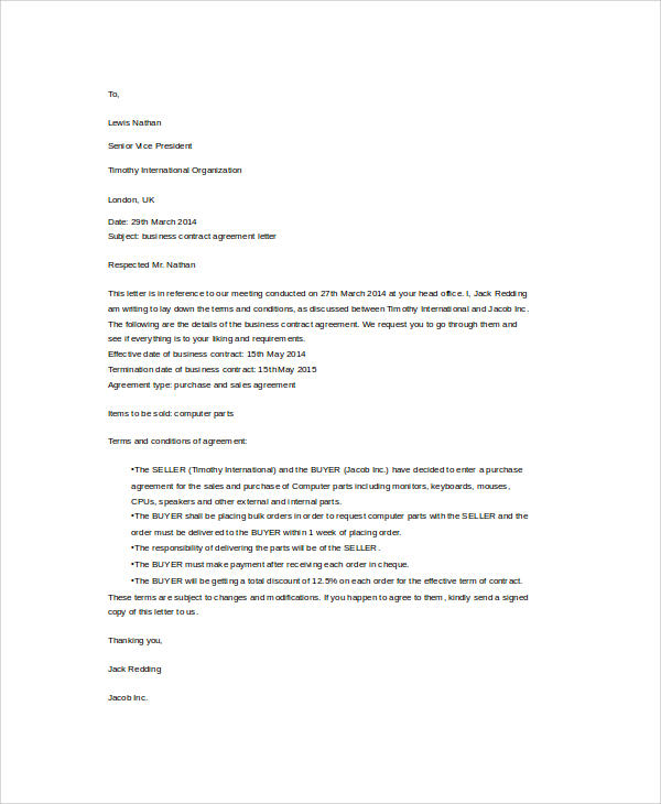 Sample Agreement Letters