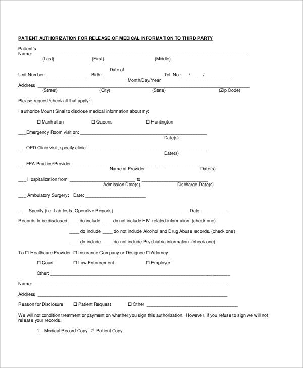 patient medical authorization release form