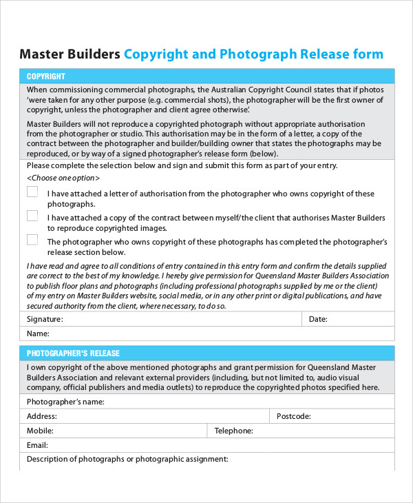 Sample Photography Copyright Release Form 7 Examples in Word PDF – Photography Copyright Release Form