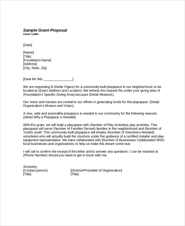 Grant Proposal Cover Letter Sample
