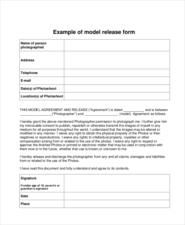 generic photo model release form