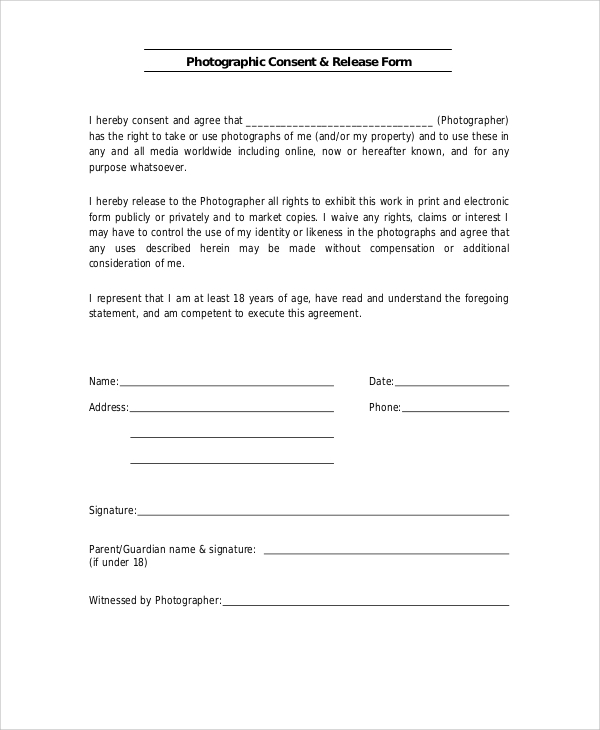 generic photo release consent form