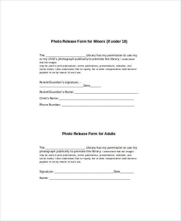 Generic Photo Release Form   Examples In Word Pdf