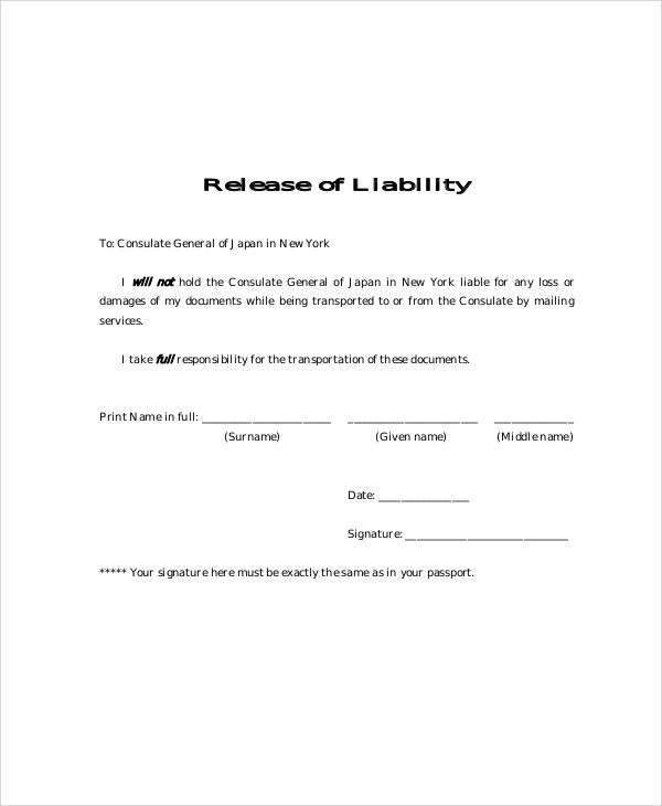 Sample Free Release of Liability Form 9 Examples in Word PDF – Liability Waiver Template Free