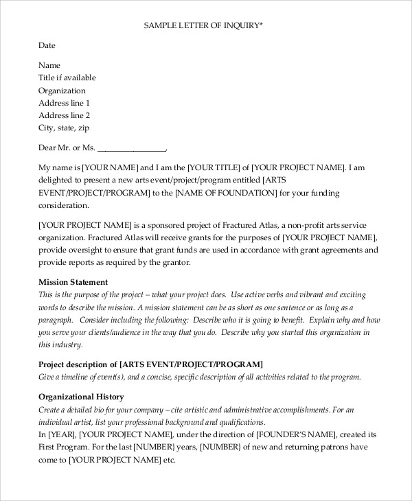 sample grant proposal letter 9 examples in word pdf - Grant Proposal Cover Letter