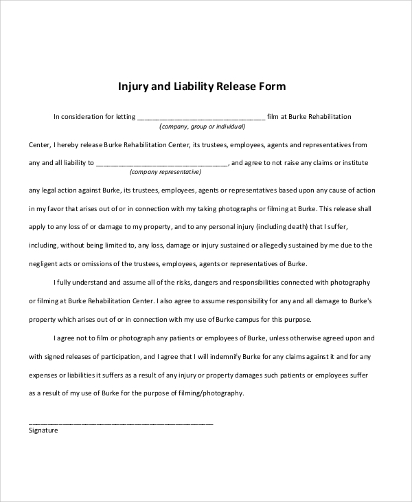 Release Of Liability Injury Form Example