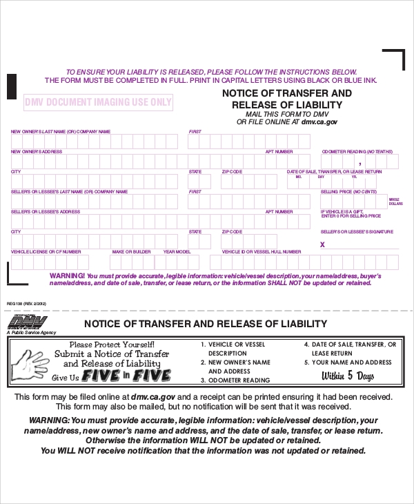 Ca Dmv Release Of Liability Form Pdf
