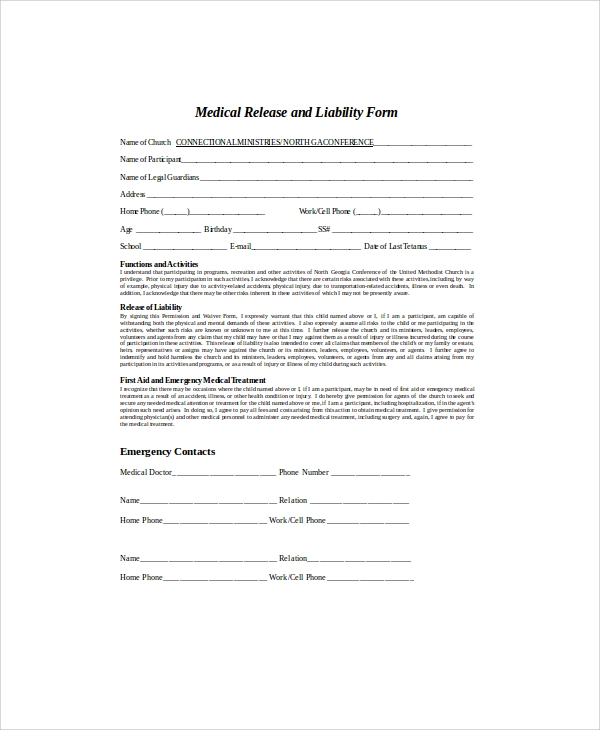 Doc7201024 Release of Liability Form Free Printable Sample – Liability Release Form Examples
