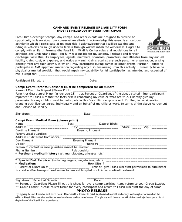 Release Of Liability Sample Release Of Liability Waiver Form