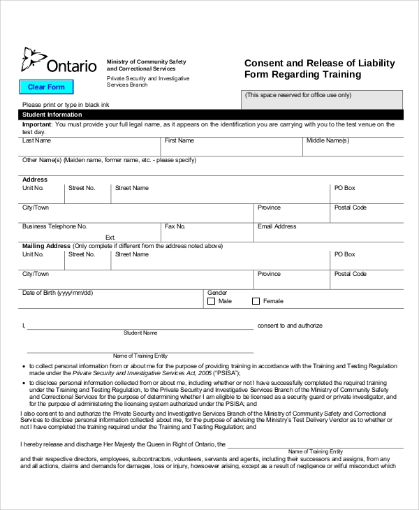 Release Of Liability Form Ca >> FREE 9+ Sample Release of Liability Forms in MS Word | PDF