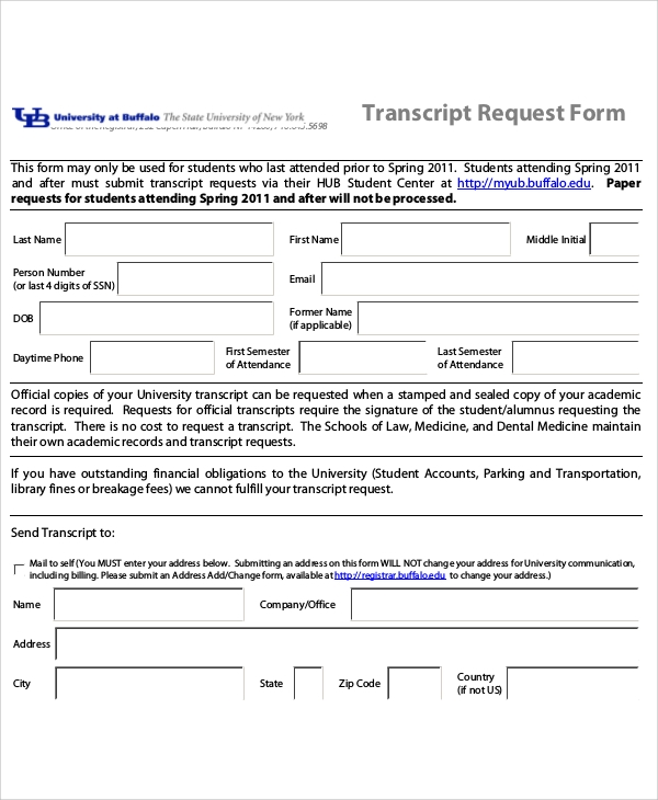 sample student transcript request form