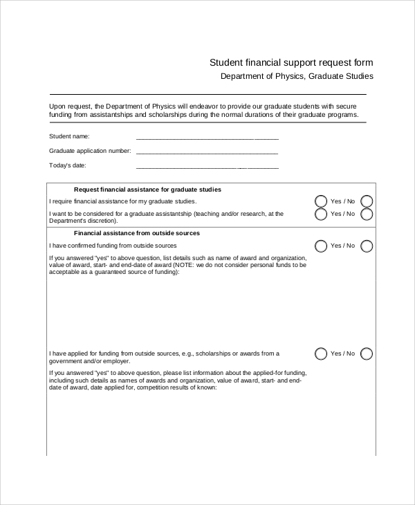 student finance support request form