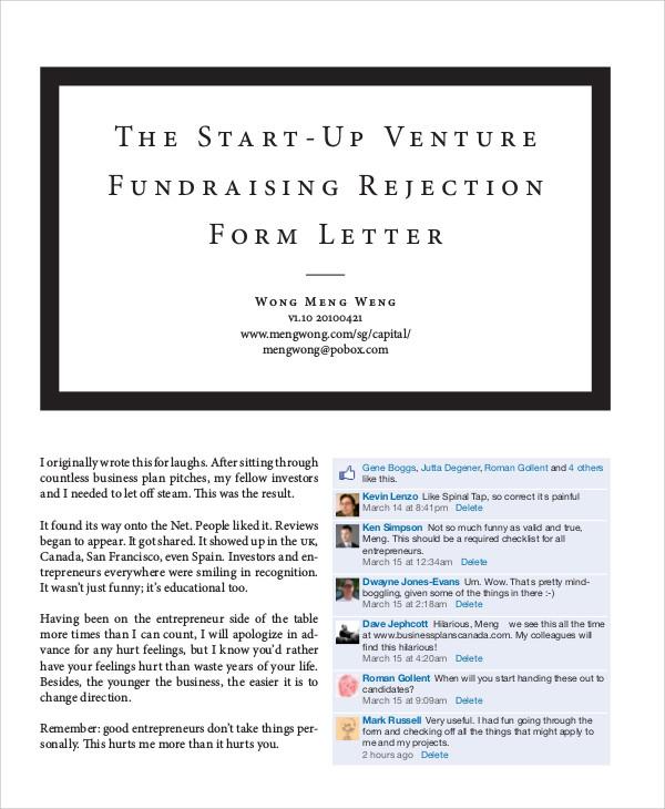 venture fund raising proposal rejection form letter