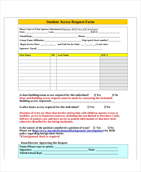 student access request form pdf