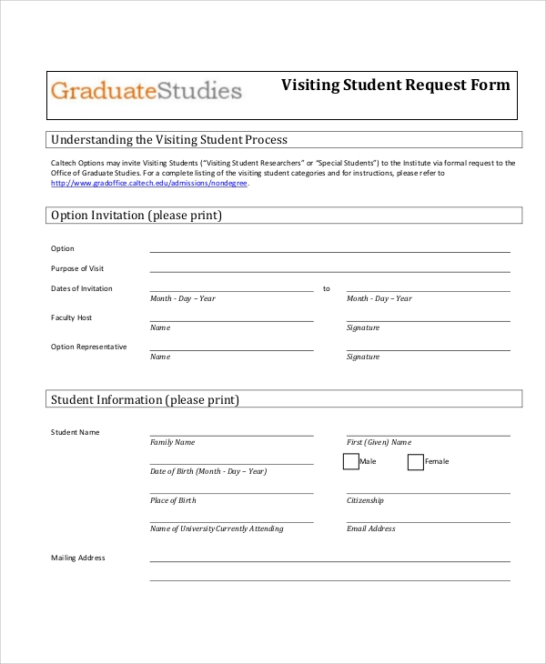 visiting student request form free