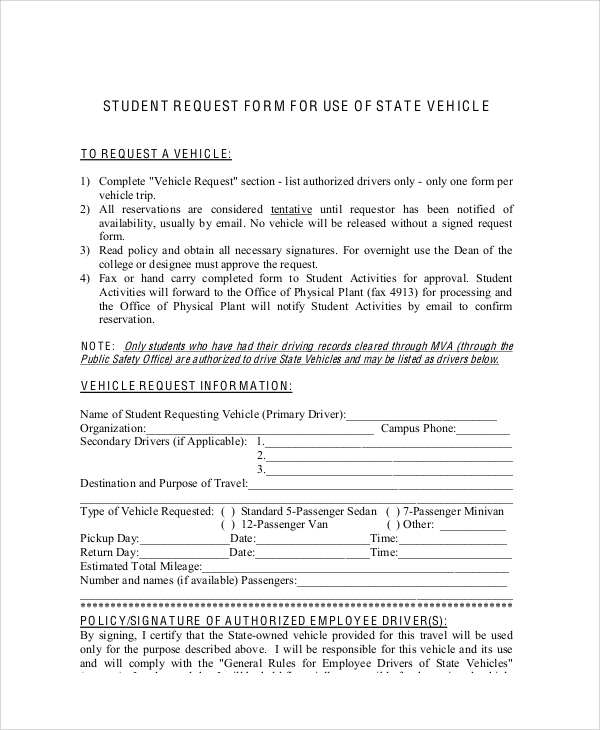 student vehicle request form