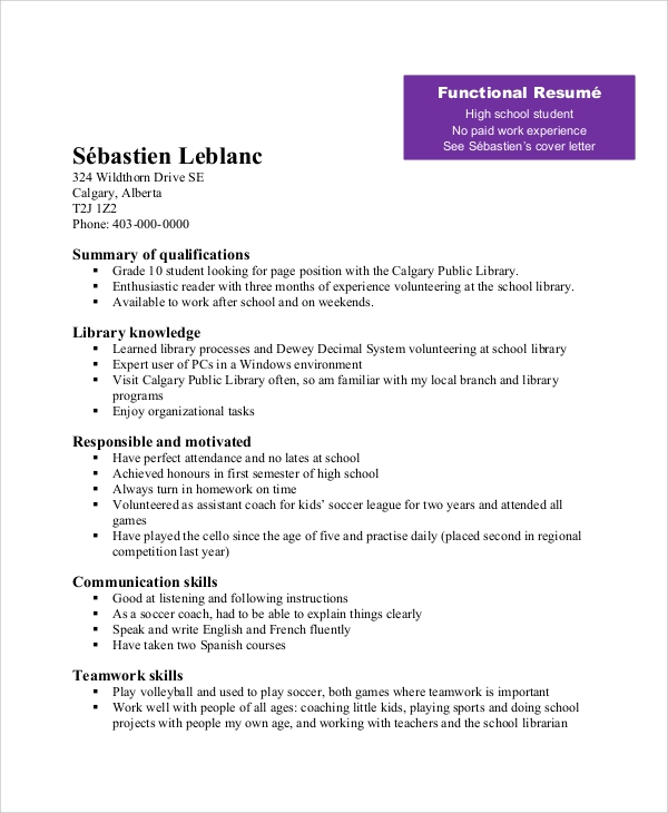Example of a resume for a teenager