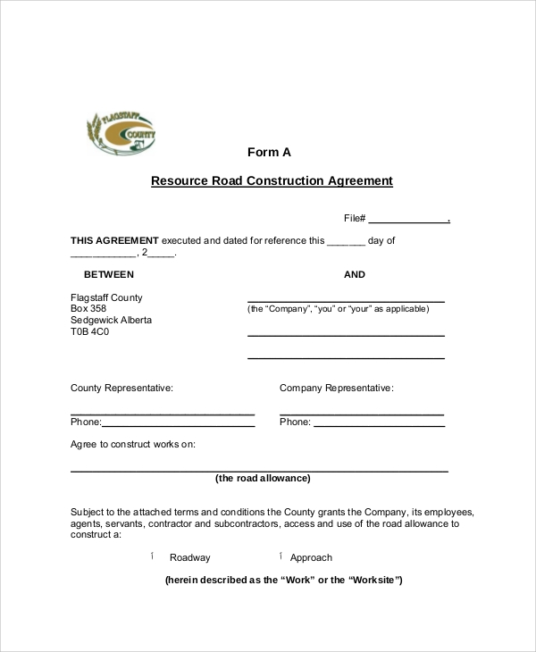 13 Sample Construction Contract Agreements Sample Templates