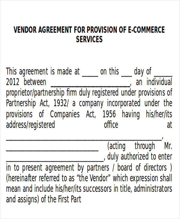 Sample Vendor Agreements