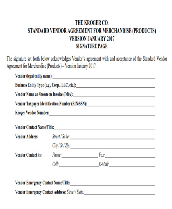 Vendor Agreement Vendor Non Compete Agreement Form Sample Non – Vendor Contract Agreement