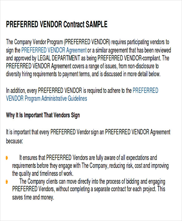 17 sample vendor agreements sample templates for Preferred vendor agreement template
