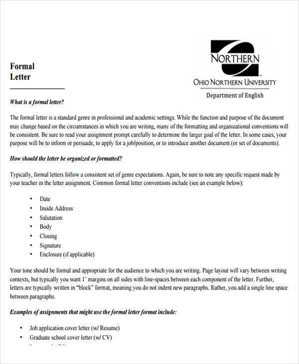 format for addressing a formal letter