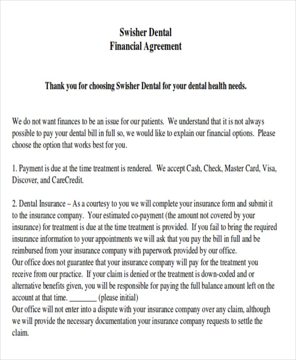 Dental Payment Plan Agreement